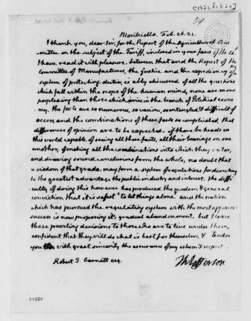 Thomas Jefferson to Robert S. Garnett, February 26, 1821