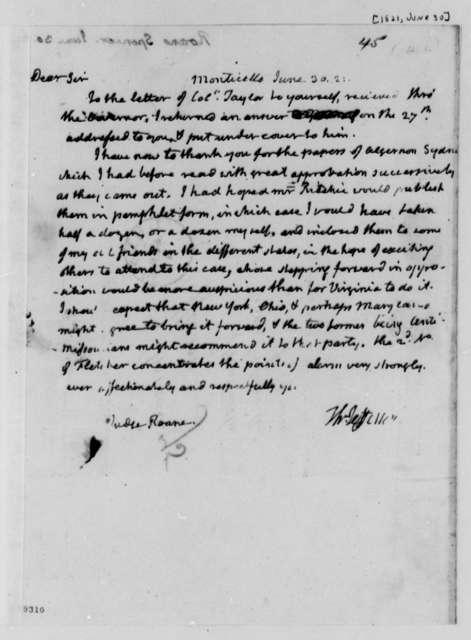 Thomas Jefferson to Spencer Roane, June 30, 1821