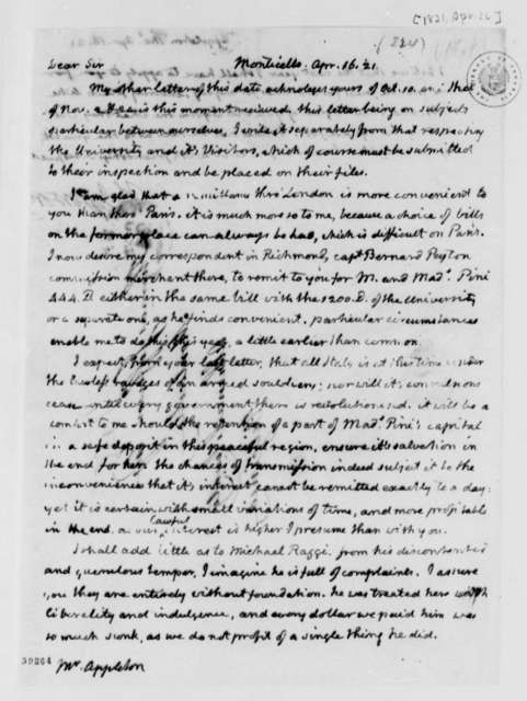 Thomas Jefferson to Thomas Appleton, April 16, 1821