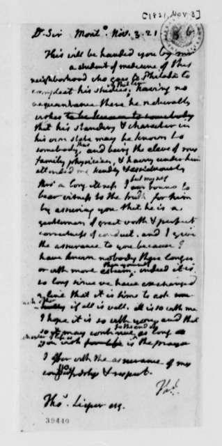 Thomas Jefferson to Thomas Leiper, November 3, 1821