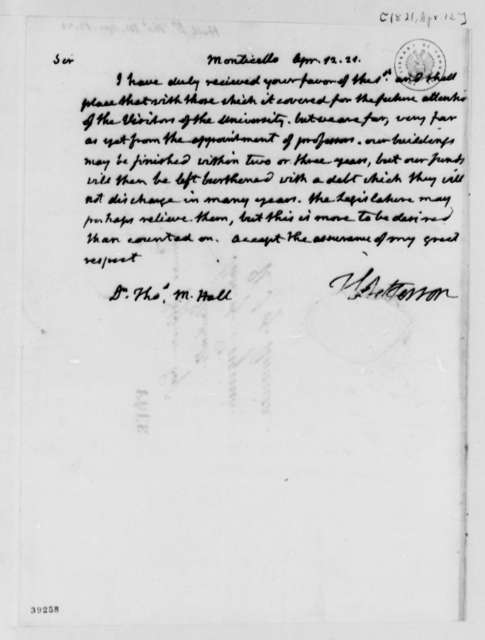 Thomas Jefferson to Thomas M. Hall, April 12, 1821