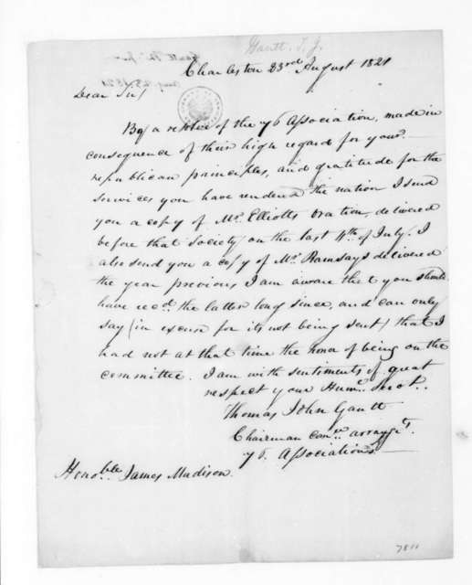 Thomas John Gantt to James Madison, August 23, 1821.