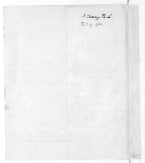 Thomas L. McKenney to James Madison, February 7, 1821.