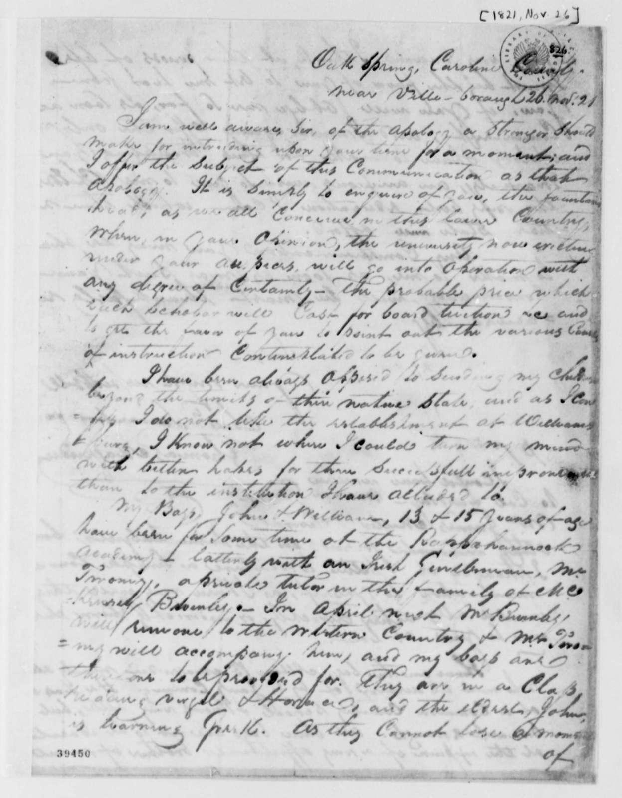 Thomas Magruder to Thomas Jefferson, November 26, 1821