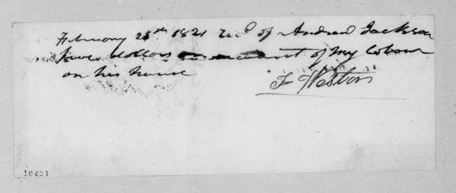 Thomas Weston to Andrew Jackson, February 26, 1821