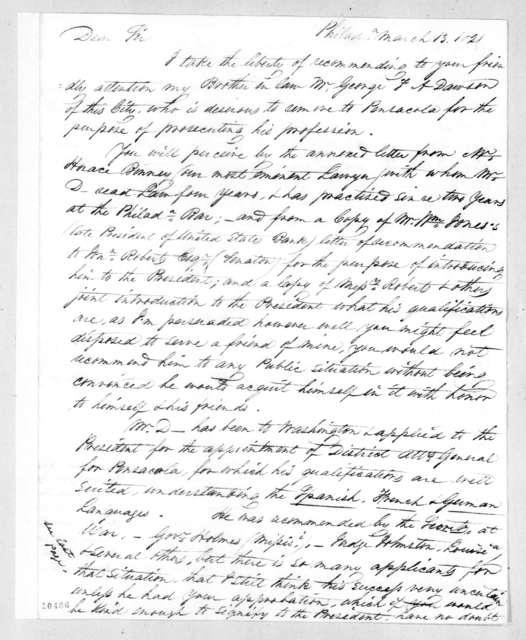 Washington Jackson to Andrew Jackson, March 13, 1821