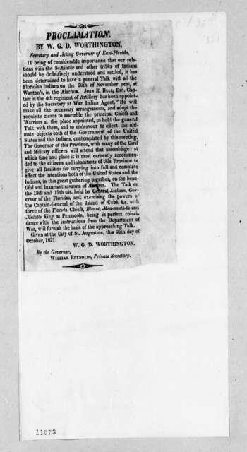 William Grafton Dulany Worthington to Andrew Jackson, October 26, 1821
