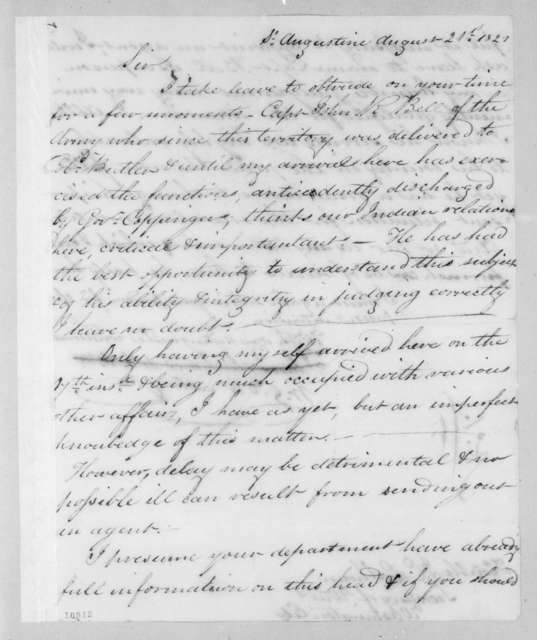 William Grafton Dulany Worthington to John Caldwell Calhoun, August 21, 1821