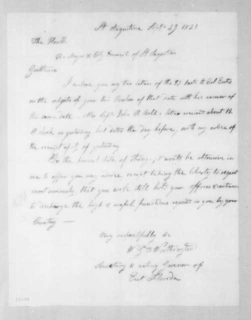 William Grafton Dulany Worthington to Mayor and City Council of St. Augustine, September 29, 1821