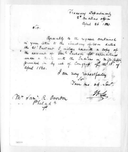 William Lee to Samuel Ragland Overton, April 26, 1821