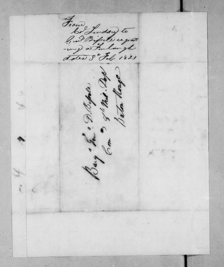 William Lindsay to Daniel Bissell, February 8, 1821