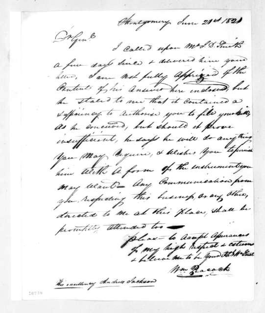 William Peacock to Andrew Jackson, June 21, 1821