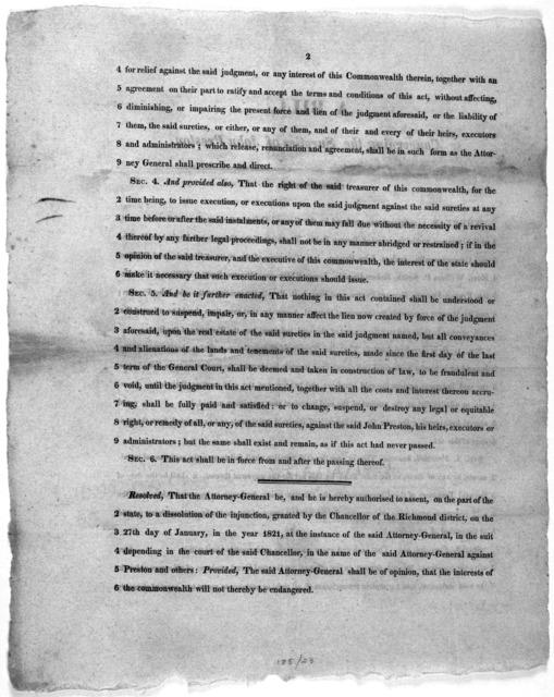 A bill concerning the sureties of John Preston. [Richmond, 1822].