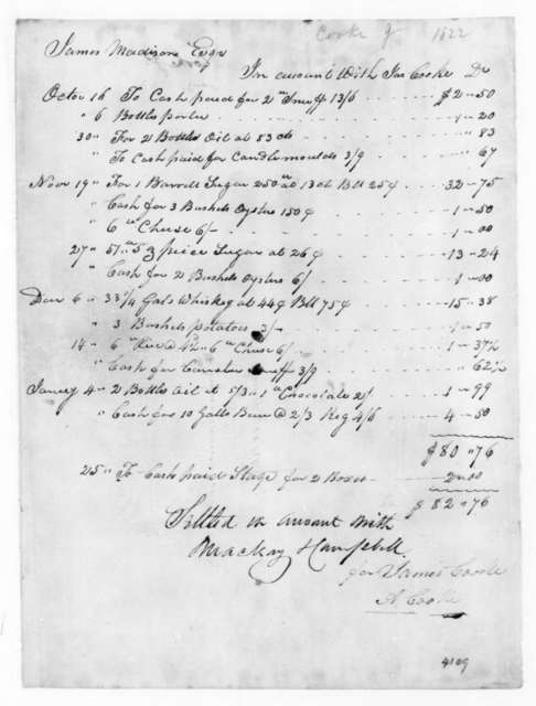 A. Cook to James Madison, January 31, 1822. Includes a paid bill for James Cooke.