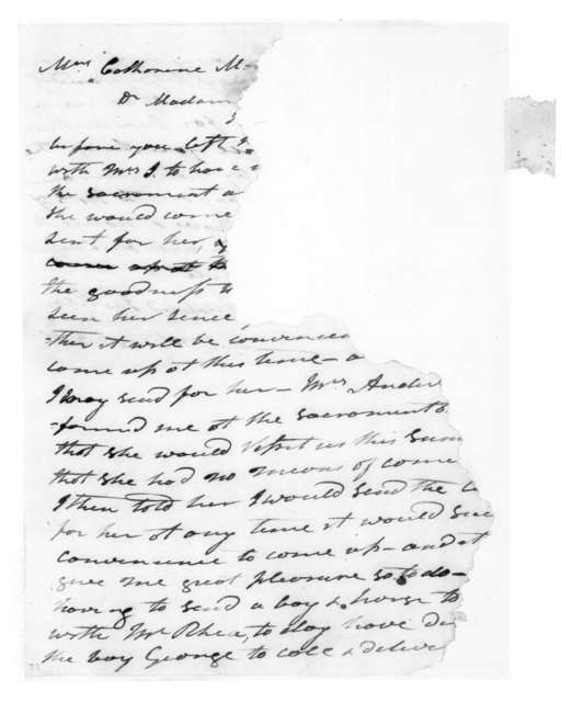 Andrew Jackson to Catherine Martin, July 10, 1822