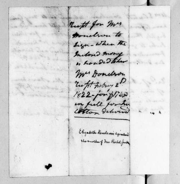 Andrew Jackson to Elizabeth Donelson, February 2, 1822