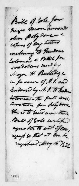 Andrew Jackson to Henry Middleton Rutledge, May 16, 1822