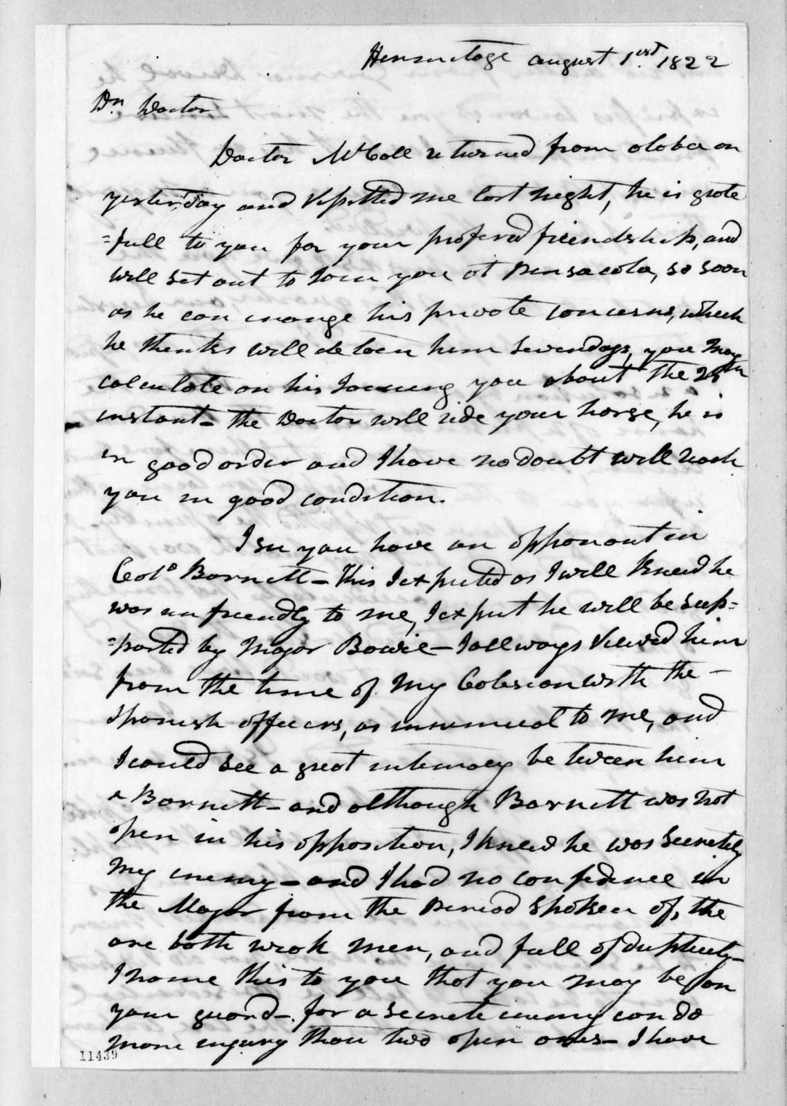 Andrew Jackson to James Craine Bronaugh, August 1, 1822