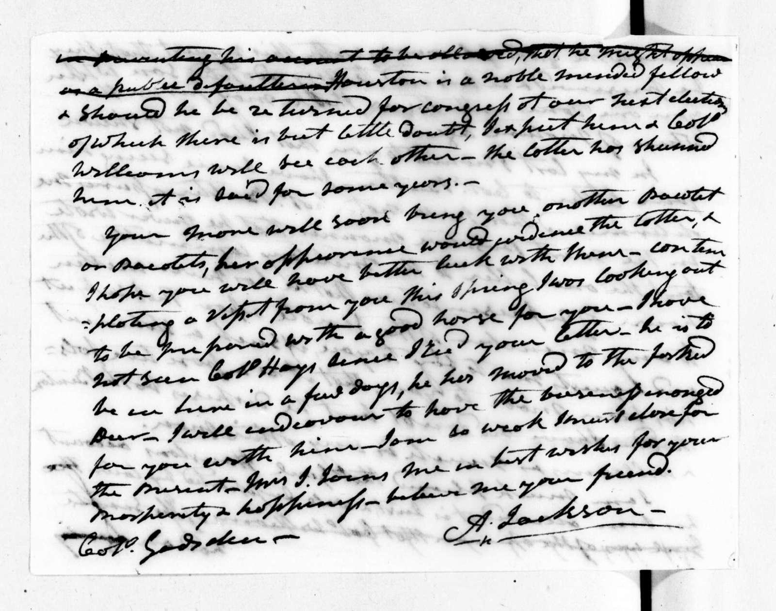 Andrew Jackson to James Gadsden, May 2, 1822