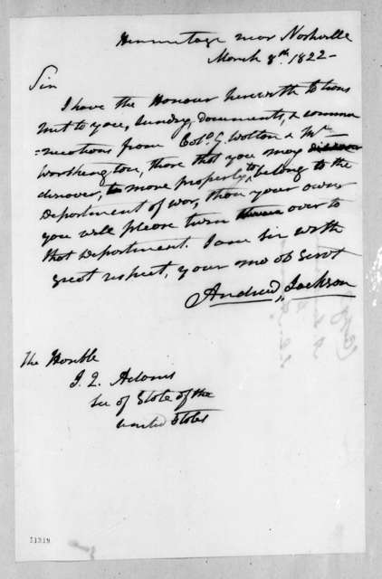 Andrew Jackson to John Quincy Adams, March 8, 1822
