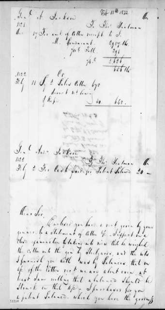 Andrew Jackson to Thomas Yeatman, February 11, 1822