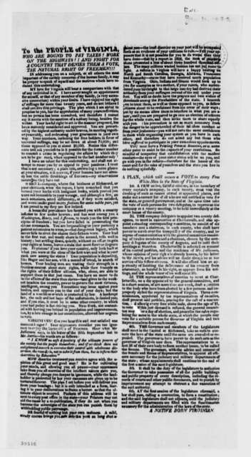Anonymous to Thomas Jefferson, January 10, 1822, with Broadside from Native Born Virginian