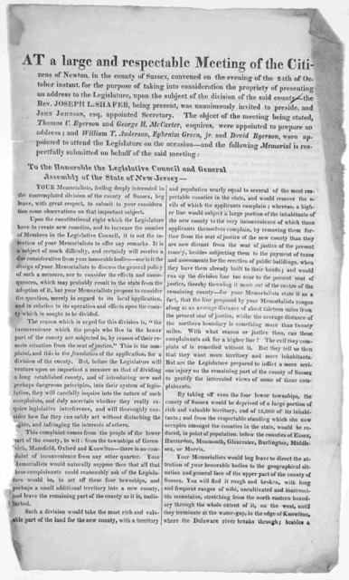 At a large and respectable meeting of the citizens of Newton, in the county of Sussex, convened on the evening of the 24th of October instant, for the purpose of taking into consideration the propriety of presenting an address to the Legislature