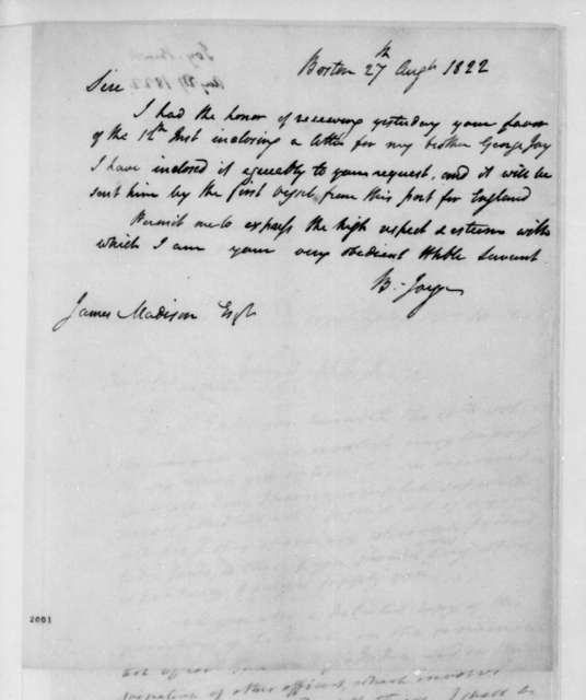 Benjamin Joy to James Madison, August 27, 1822.