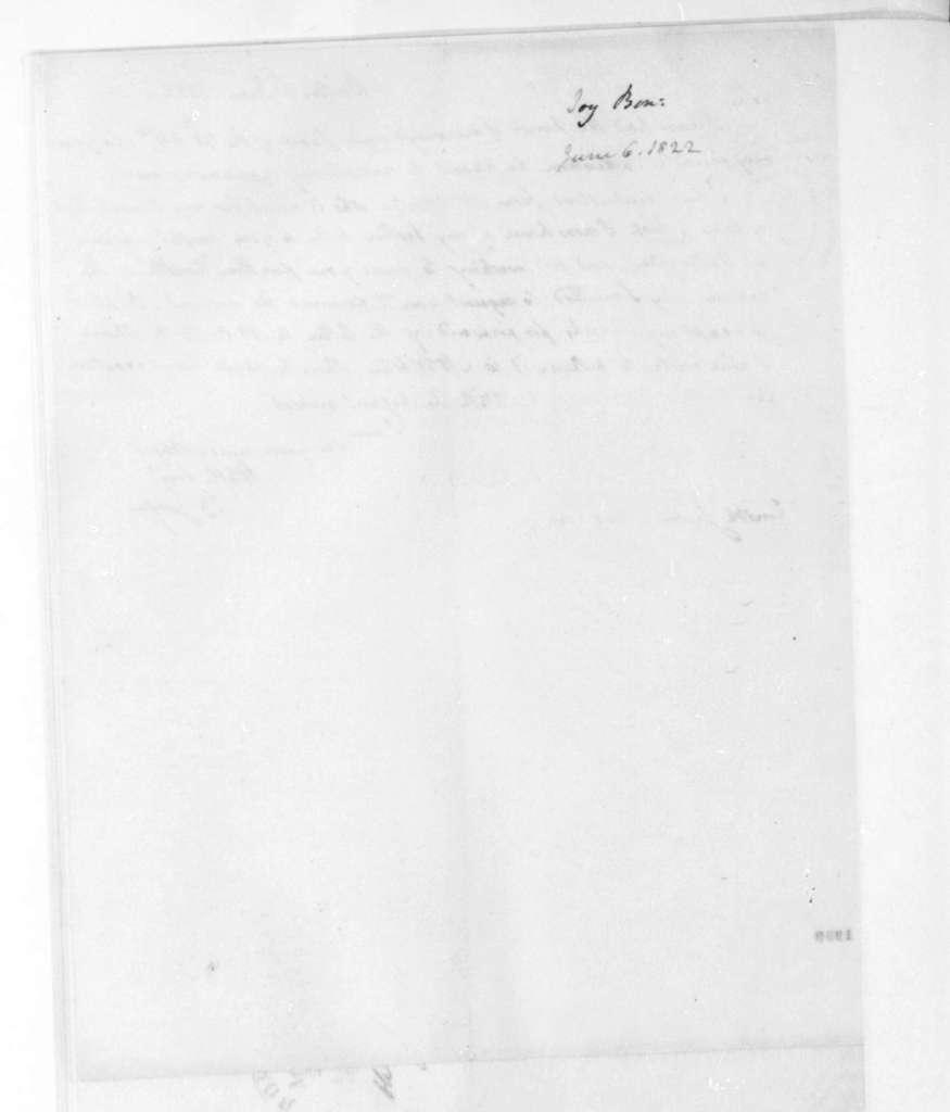 Benjamin Joy to James Madison, June 6, 1822.