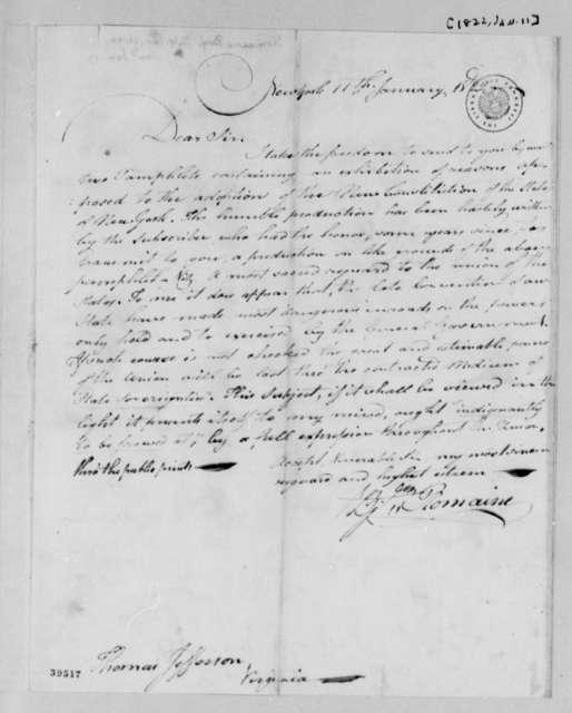 Benjamin Romaine to Thomas Jefferson, January 11, 1822