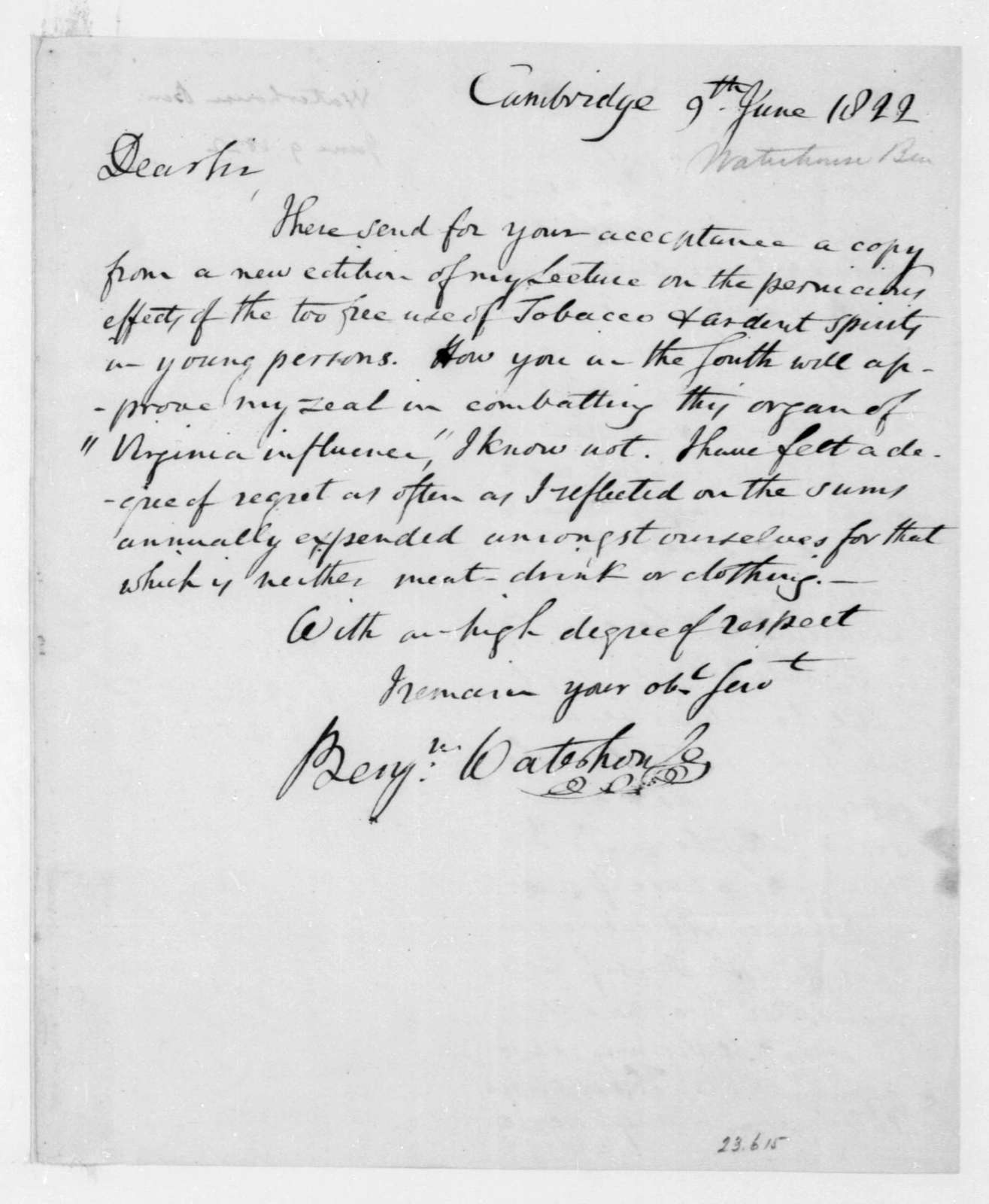 Benjamin Waterhouse to James Madison, June 9, 1822.