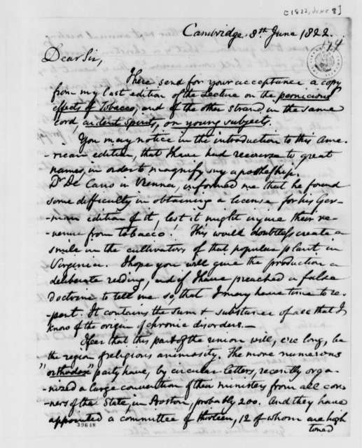 Benjamin Waterhouse to Thomas Jefferson, June 8, 1822, with Postscript