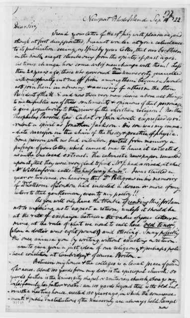 Benjamin Waterhouse to Thomas Jefferson, September 14, 1822