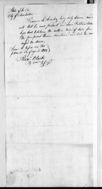 Catalina Mir Satorios to Andrew Jackson, April 12, 1822