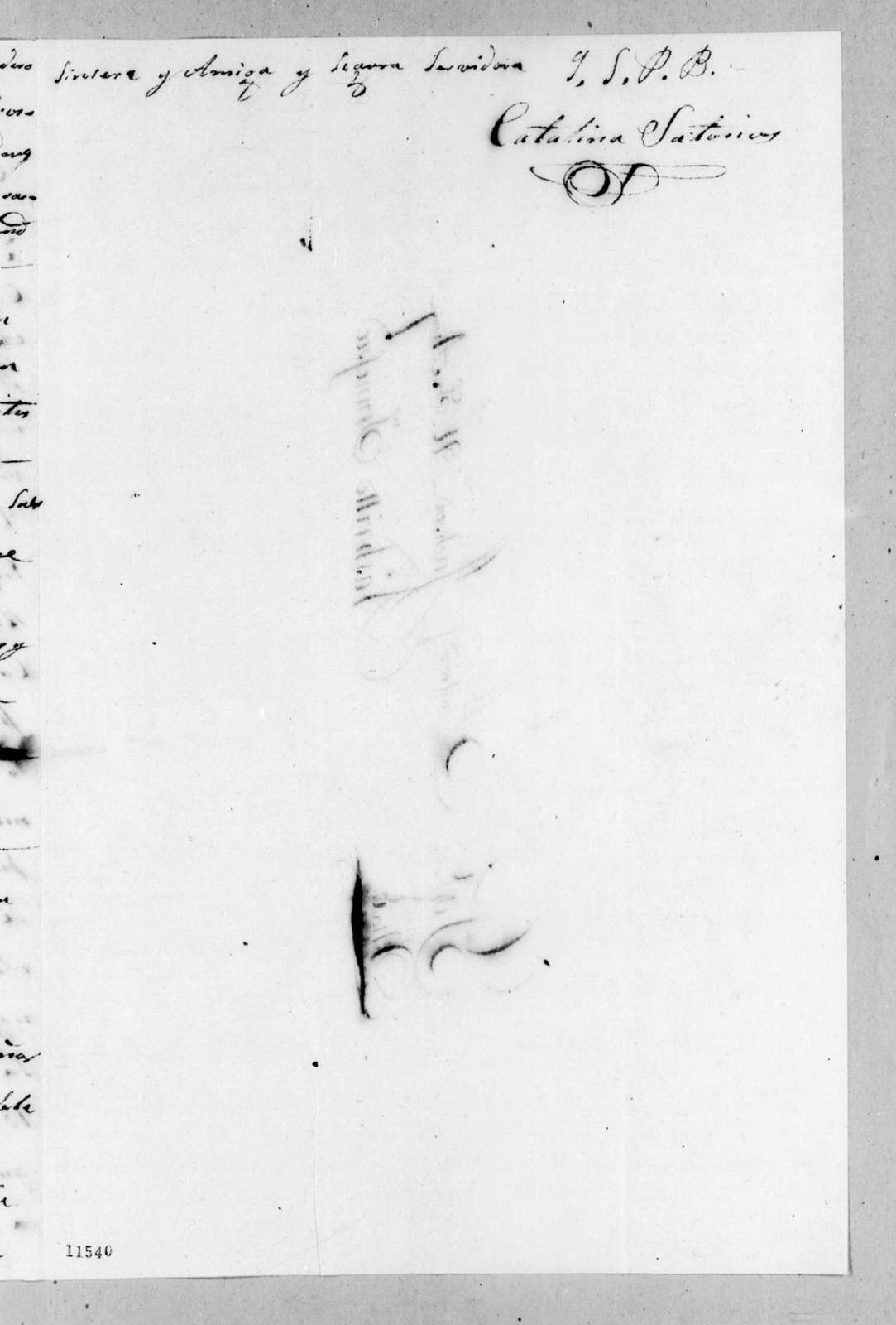 Catalina Mir Satorios to Andrew Jackson, July 8, 1822