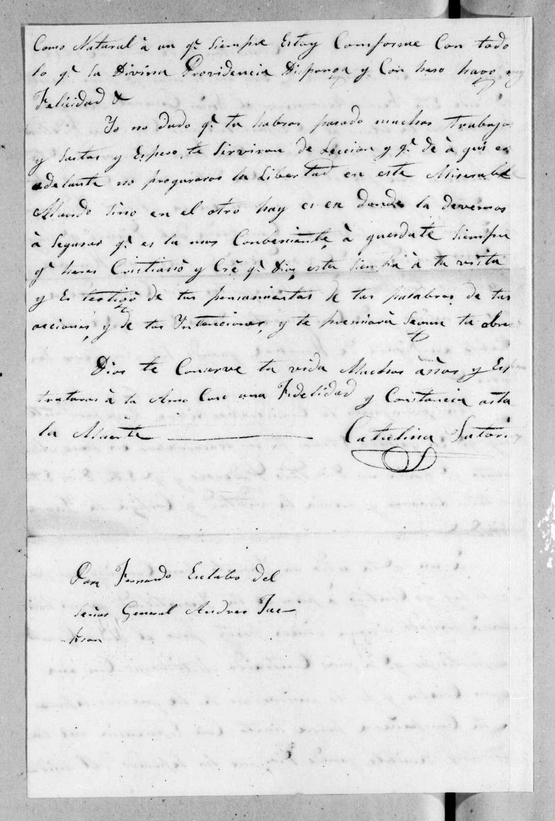 Catalina Mir Satorios to Andrew Jackson, June 14, 1822