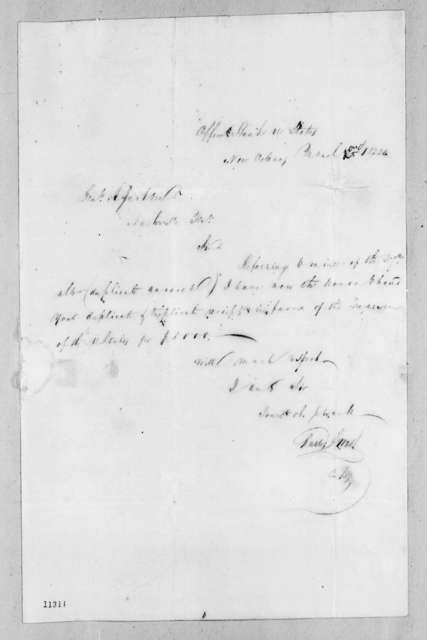 Charles S. West to Andrew Jackson, March 2, 1822