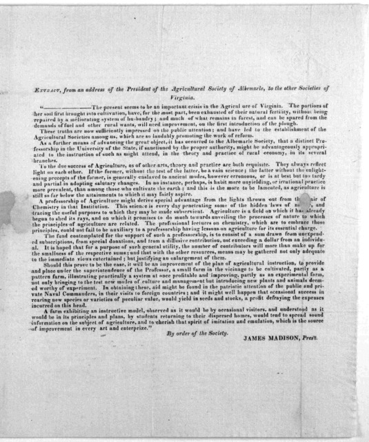 Charlottesville, Dec. 1, 1822. Sir, The undersigned are a committee appointed by the Agricultural Society of Albermarle, (under certain resolutions of that body of the 7th of Oct. last and which are hereto subjoined) to solicit donations, from i
