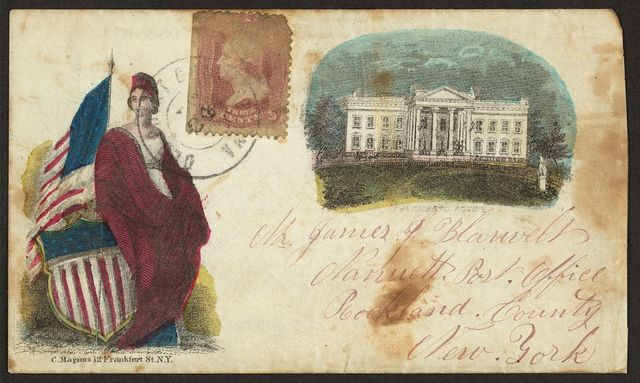 [Civil War envelope showing Columbia with shield and American flag and White House]
