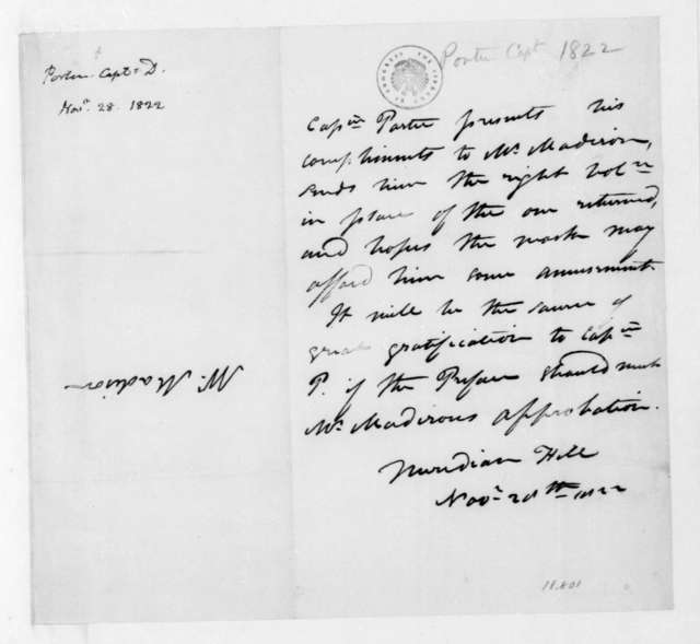 Cpt. D. Porter to James Madison, November 28, 1822.