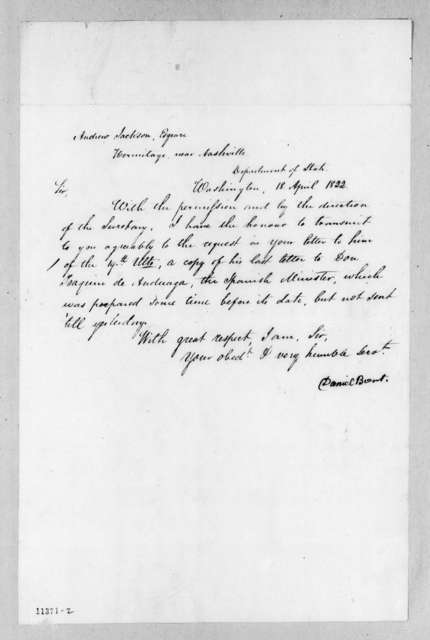 Daniel Brent to Andrew Jackson, April 18, 1822