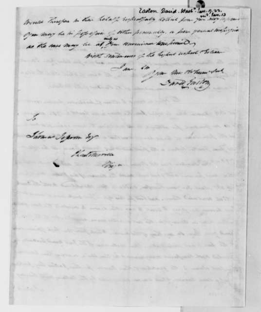 David Easton to Thomas Jefferson, January 9, 1822, with Circular of Washington Letters