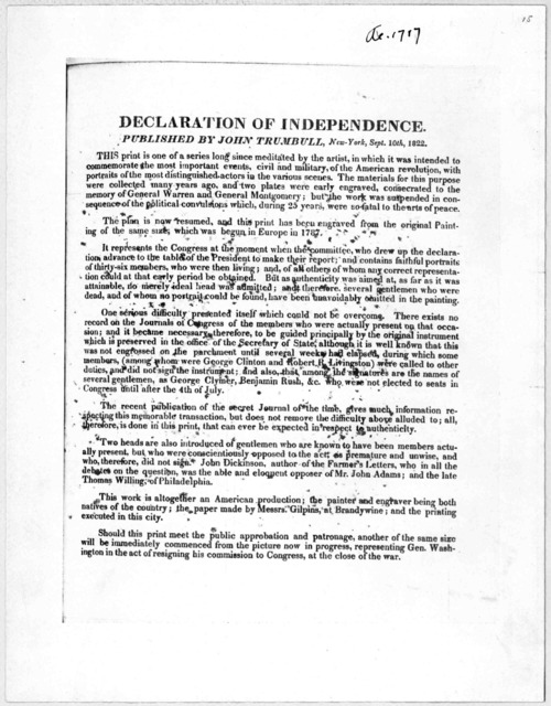 Declaration of independence published by John Trumbull, New York, Sept. 10th, 1822.