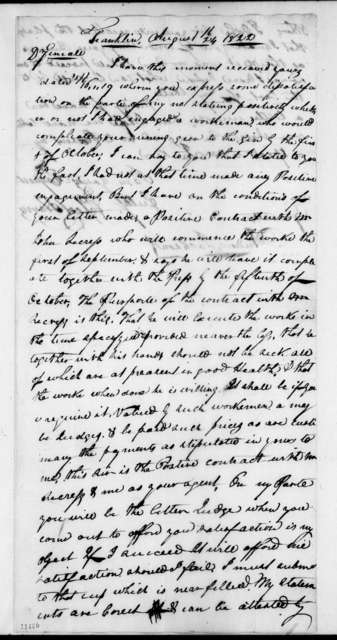Egbert Harris to Andrew Jackson, August 24, 1822