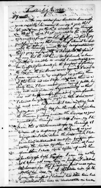 Egbert Harris to Andrew Jackson, July 27, 1822