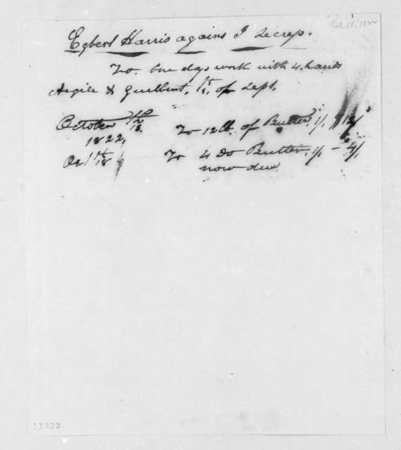 Egbert Harris to J. Lecress, October 18, 1822