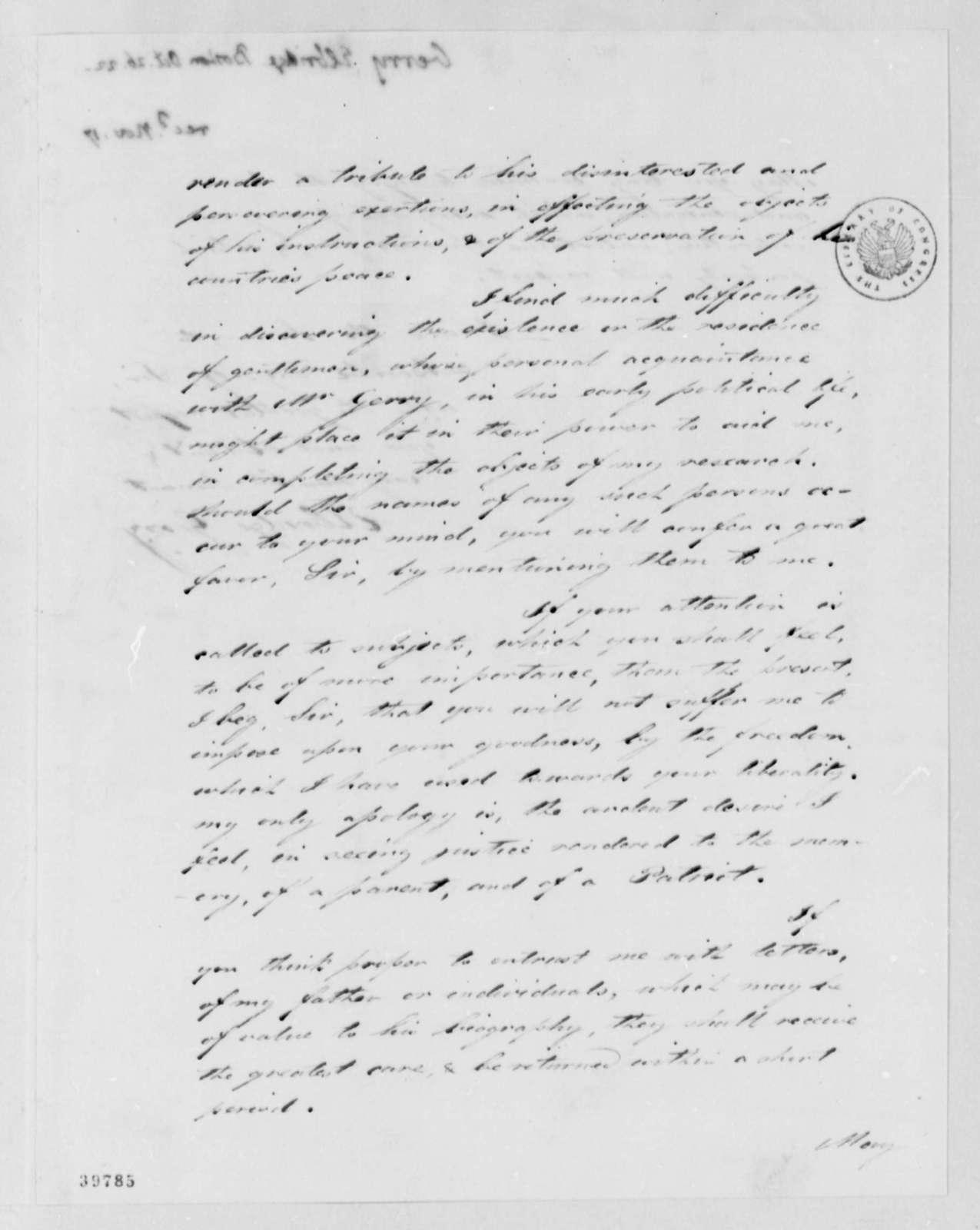 Elbridge Gerry, Jr. to Thomas Jefferson, October 26, 1822