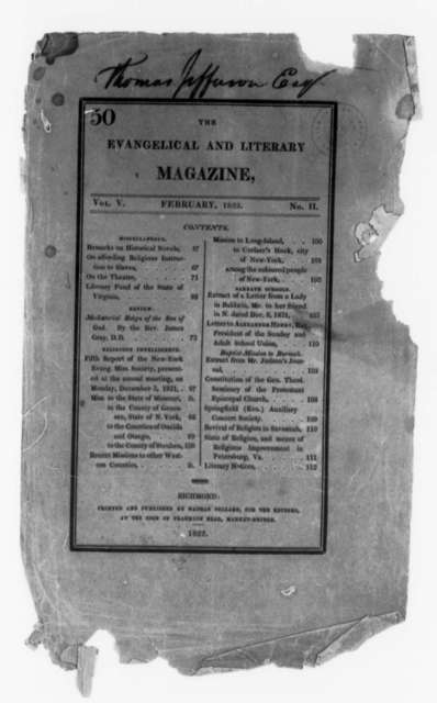 Evangelical and Literary Magazine, February 1822, Cover and Front Leaves