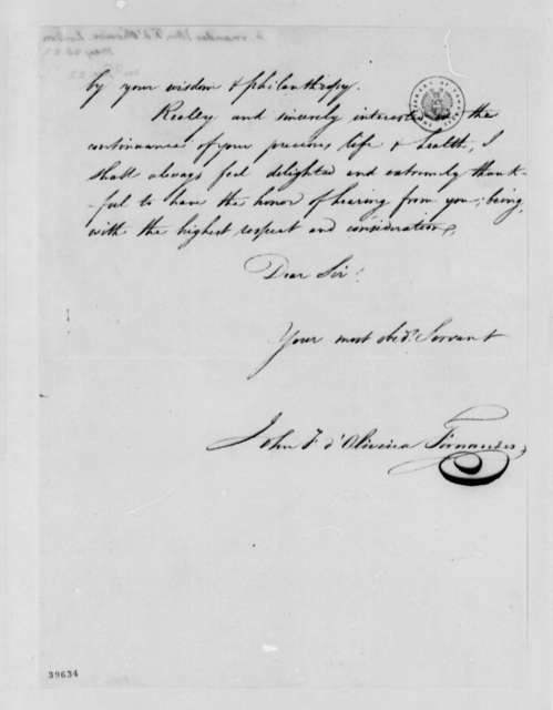 Fernandez Oliviera to Thomas Jefferson, May 28, 1822