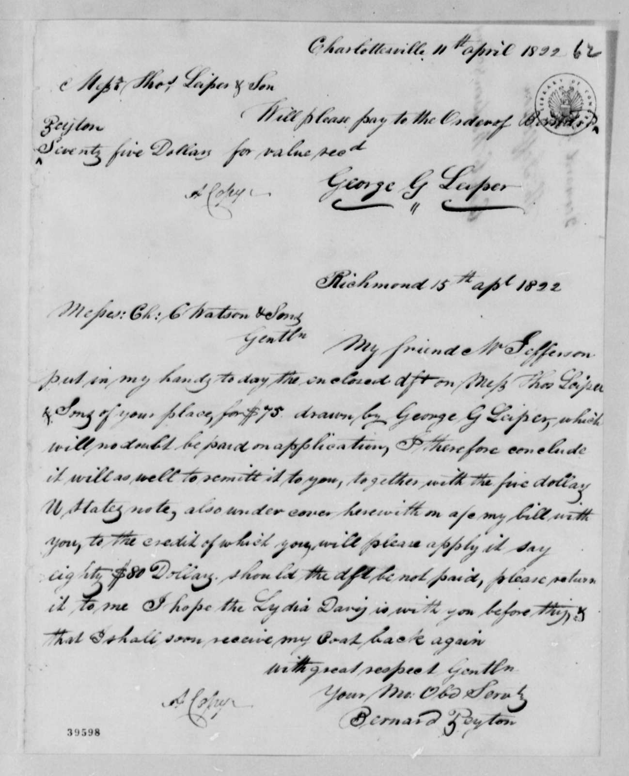 George G. Leiper to Thomas Leiper & Son, April 11, 1822, Payment